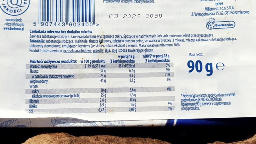Czekolada mleczna Magnetic bez cukru - skład i tabela wartości odżywczych