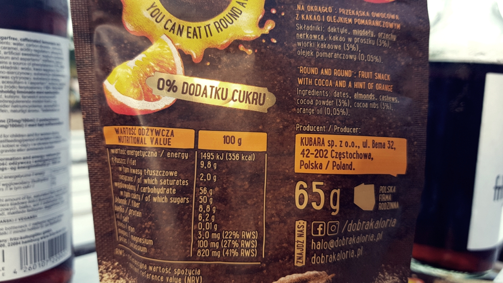 Kulki mocy Dobra Kaloria (kakao & nuta pomarańczy) - skład i tabela wartości odżywczych